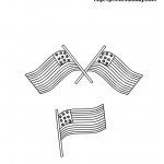 3 American Flags to color