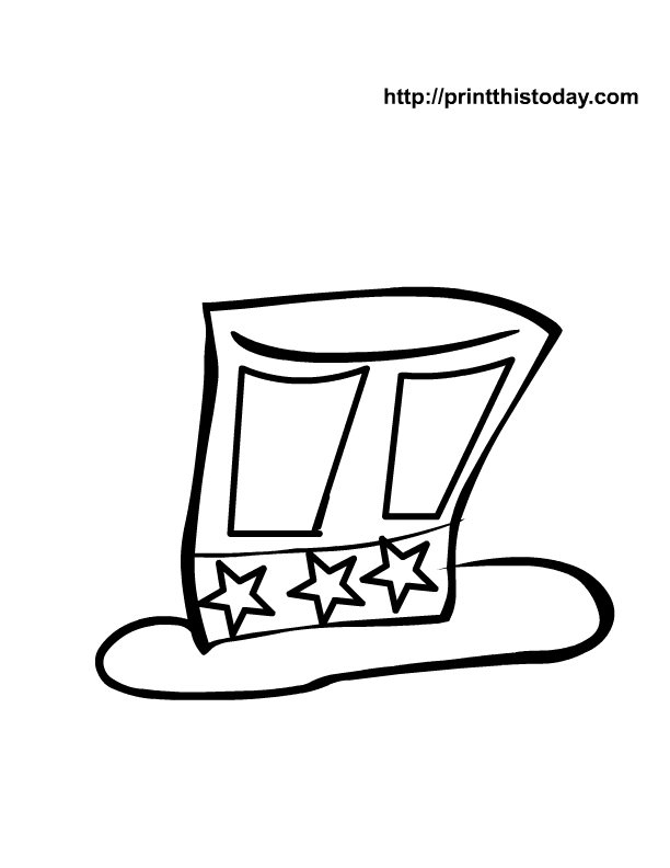 Uncle Sam S Hat Coloring Pages Sam Hat Coloring Page