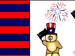 Cute teddy bears and fire works