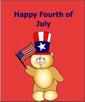 Happy fourth of July with teddy bear