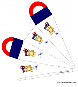 4th of July gift bag with teddy bears