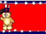 Teddy bear with US flag Labels