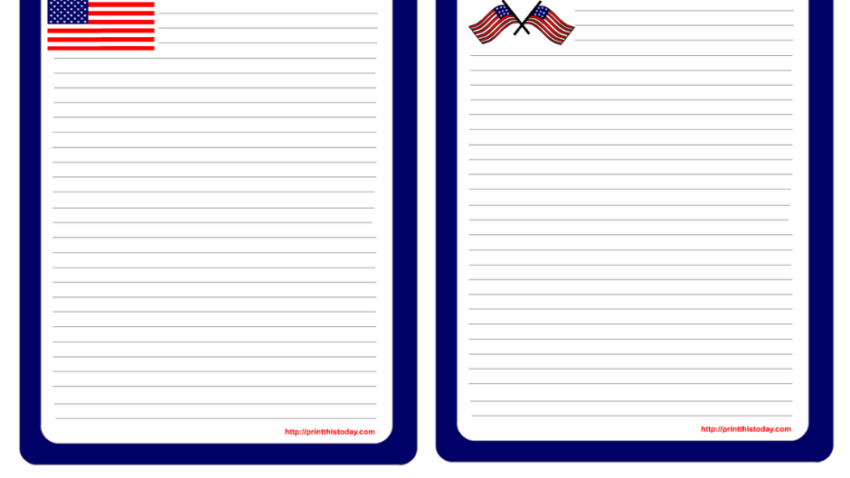 Free printable 4th of July Stationery Writing Paper