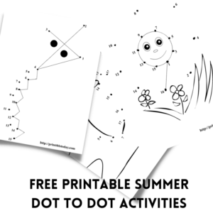 Free printable Summer dot to dot activities