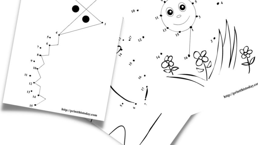 Free printable Summer dot to dot activities