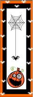 Cute halloween bookmarks printable with spooky pumpkin and scary spider