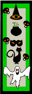 Cat and skulls , spooky bookmarks for Halloween