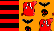 Red monster, bats and skull candy wrapper