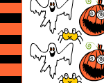 Candy wrapper for halloween with ghosts and pumpkins