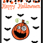 Happy Halloween Greeting Card with pumpkin and bats