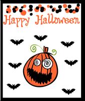Happy Halloween Card with pumpkin and bats
