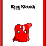 Happy Halloween Card with red Monster