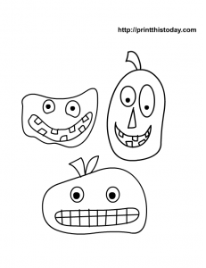 cute scary faces coloring page for kids