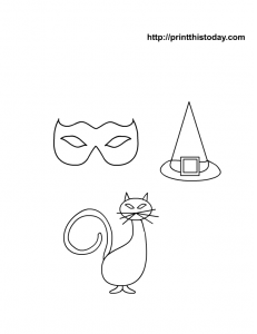 A cat ,a hat, a mask coloring page for halloween