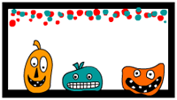Halloween Labels with cute monsters
