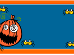 Pumpkin face and spiders label printable Template