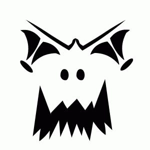 Scary face Halloween pumpkin stencil