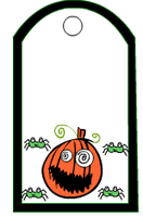 Pumpkin face and spiders gift tag