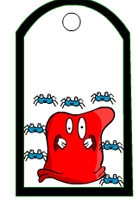 Red monster and spiders tag printable