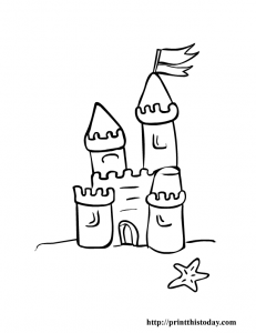 Free printable sand castle coloring page for kids