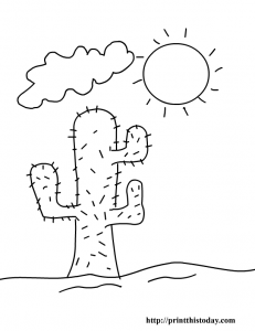 Cactus and sun desert coloring page