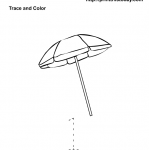 Free printable maths worksheet with parasol and number 1