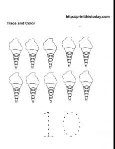 free printable ice cream number 10