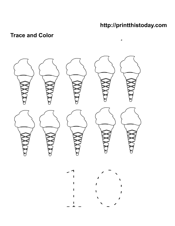 Free printable Summer Maths worksheets for preschool – Number 10 Worksheet