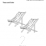 Free Printable Math Count and Color Worksheet with 2 Beach chairs