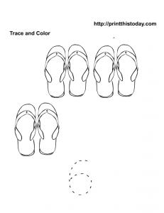 6 cute flip flops , trace and color number 6