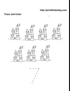 Seven sand castles to color