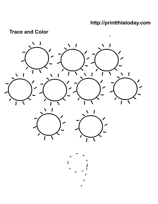 trace and color number 9 - Activity Sheets For Preschool