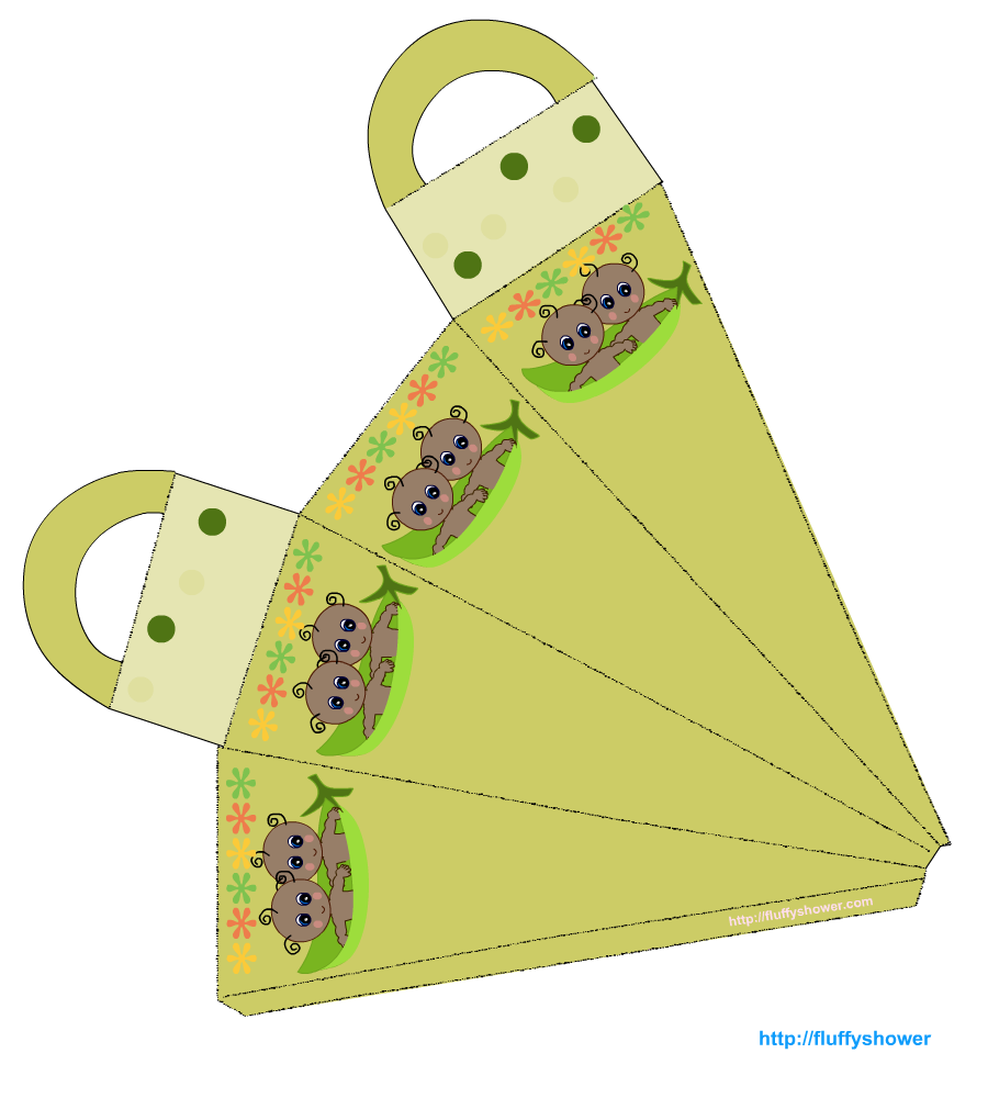 Printable pea pod baby shower favor bags for Cute papercraft templates