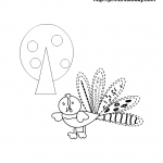 Cute turkey coloring page for thanksgiving