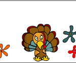 Turkey and flowers Name place-card Printable