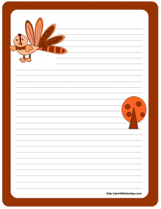 Free printable writing paper with turkey