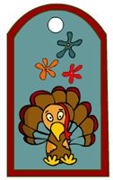 Thanksgiving tags with funky flowers and turkey