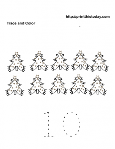 10 Christmas trees tracer sheet