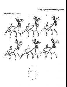 Number 6 math worksheet with reindeer