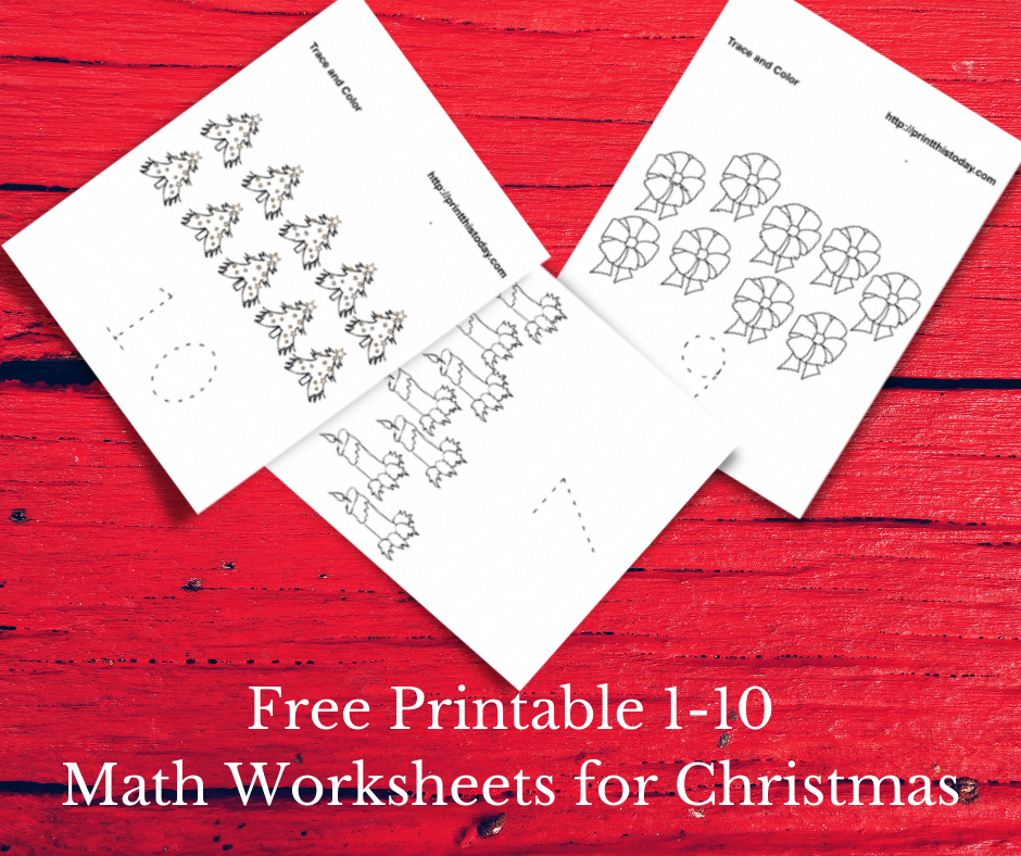Free Printable Number 1-10 Color and Trace Christmas Math Worksheets