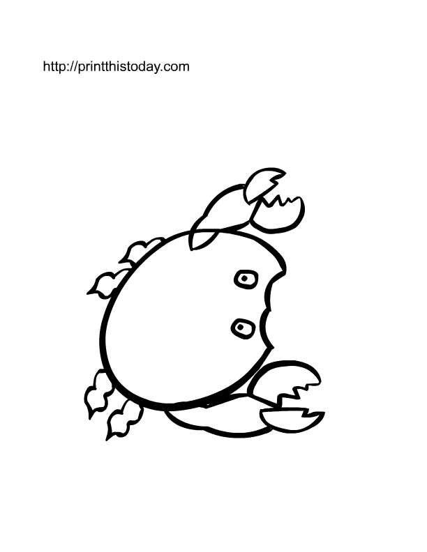free printable crab coloring page to color - Sebastian Crab Coloring Pages