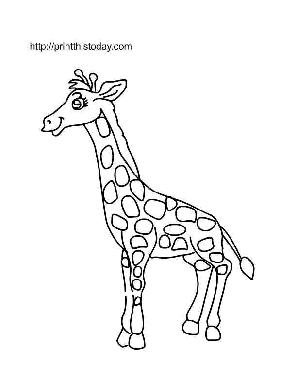 Free printable wild animals coloring pages 2 for Giraffe coloring pages to print