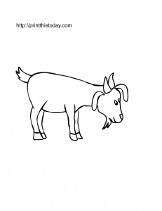 Goat to color, free printable page