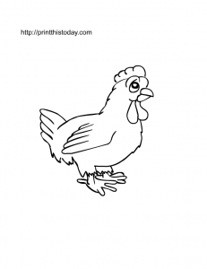 free printable hen on farm coloring page for kids