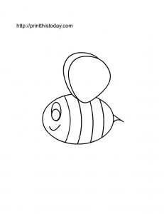 free printable coloring page with honey bee
