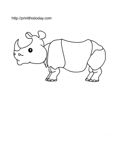 coloring page for kids with animal rhino