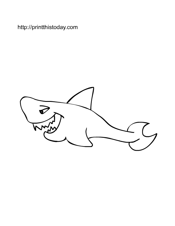 Free Printable Coloring Page For Kids With Image Of Shark