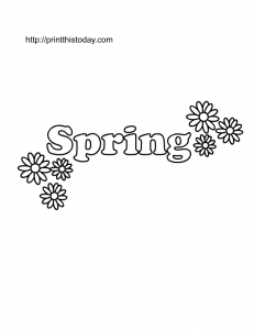 spring coloring page with daisies