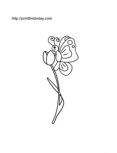 a tulip and a cute butterfly coloring page