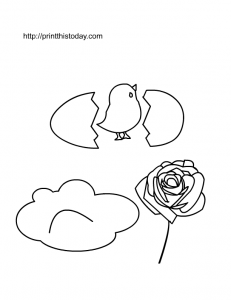 a little chicken, cloud and rose to color